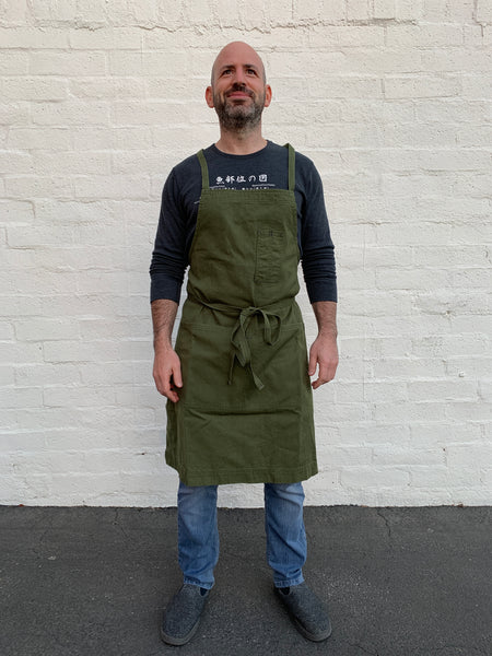 White Bark Workwear Full Cross-Back Apron - Dark Green