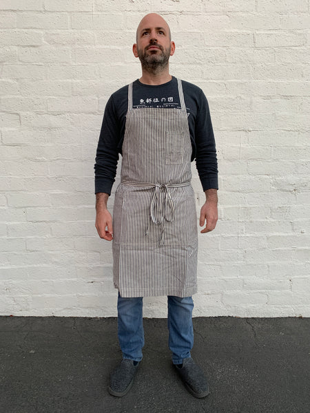 White Bark Workwear Full Cross-Back Apron - Indigo/Natural