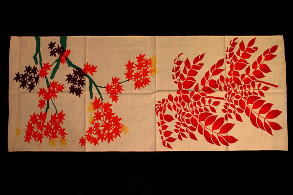Tenugui- Autumn Leaves and Mountain Ash (flower)