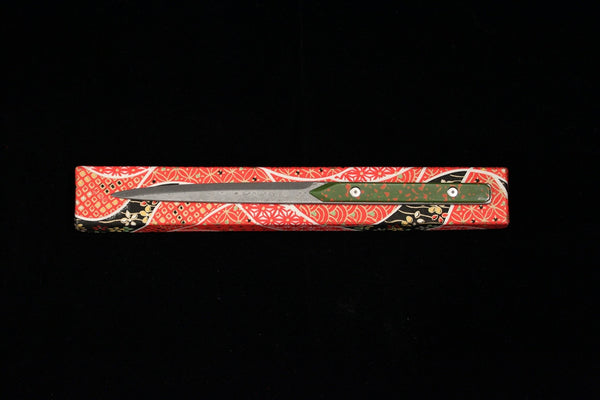 Damascus and Lacquer Paper Knife - Green and Red