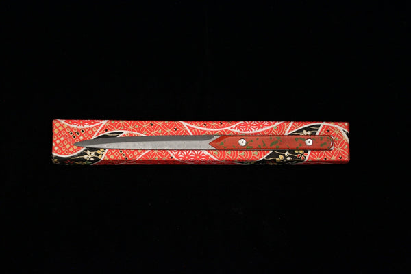 Damascus and Lacquer Paper Knife - Red and Green