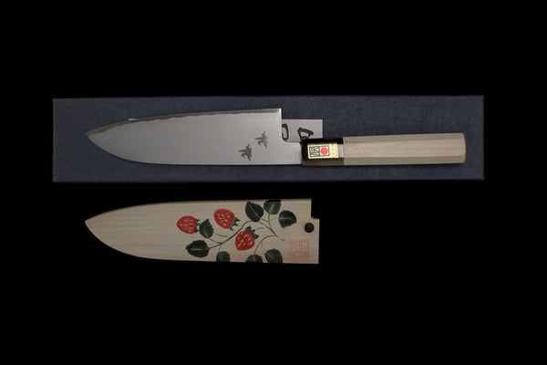 Gesshin Hide 180mm White #2 Hon-Kasumi Santoku with Hand Painted Saya- Strawberry