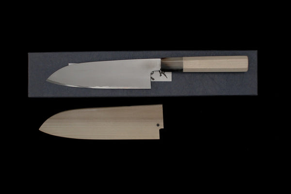 Gesshin Hide 180mm White #2 Hon-Kasumi Santoku with Hand Painted Saya- Camelia