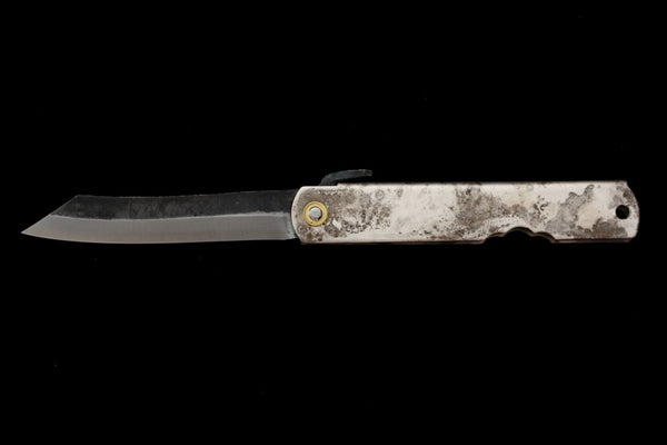 Kurouchi Folding Knife- Silver Patina Handle
