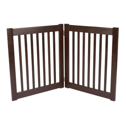 "Amish Handcrafted EZ Free Standing Wood Gates-Barriers-Dynamic Accents-27"" - 2 Panel-Mahogany-Pet Crates Direct"