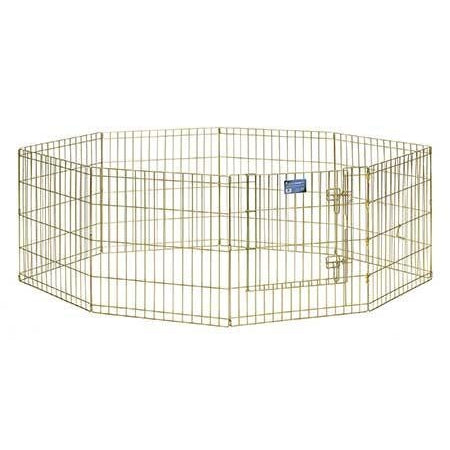 Exercise Pen with Door-Barriers-Midwest-8 panels - each 24 H x 24 W-gold zinc-Pet Crates Direct