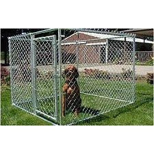 Patio-sized Portable Chain Link Dog Kennel-Barriers-Jewett Cameron-4'H x 5'W x 10'L; (5 panels - 1 gate) Chain Link; Boxed-Pet Crates Direct