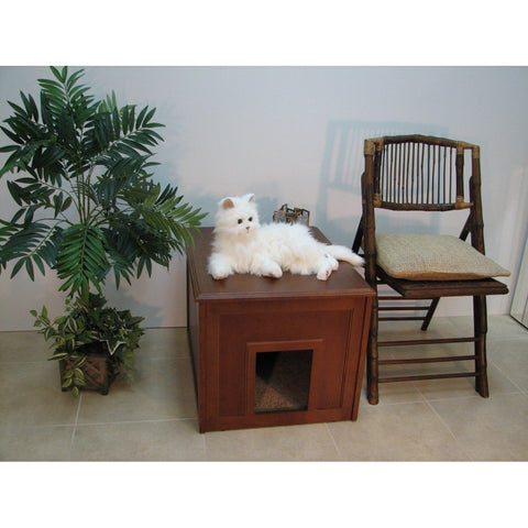 Pet Cat Litter Cabinet-cat-Crown Pet Products-Mahogany-Pet Crates Direct