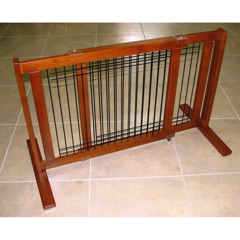 "Pet Freestanding Wood/Wire Pet Gate-Barriers-Crown Pet Products-21"" High -Small Span-Pet Crates Direct"