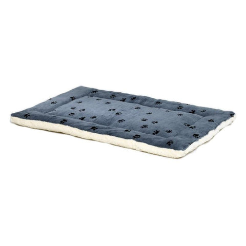 Quiet Time Reversible Paw Print Fleece Mat-Bed-Midwest-xxsmall - 17 x 11-blue-Pet Crates Direct
