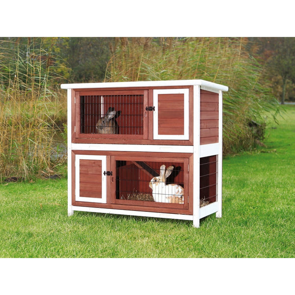 Trixie Two Story Rabbit Hutch Cage Trixie Brown White 3
