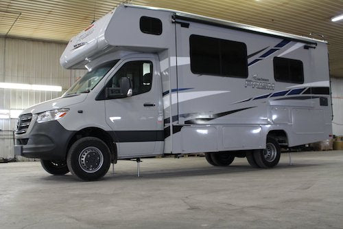 Photo courtesy of Bigfoot Leveling. A Class C RV with a Bigfoot Leveling system installed.
