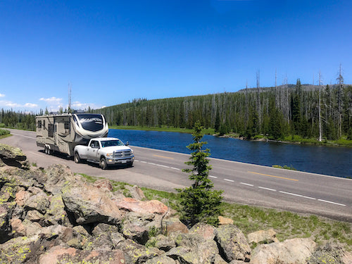 We purchased our RV new and have traveled to countless epic places. Photo location is in Yellowstone National Park.