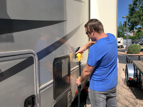 Plug or screw your electrical cord into your RV first.