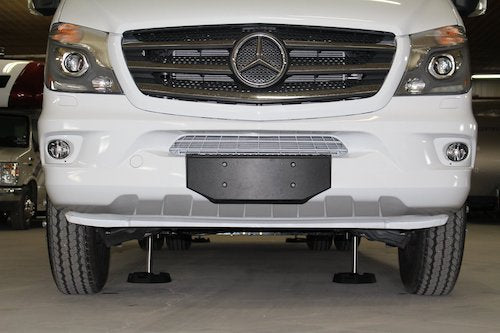 Photo courtesy of Bigfoot Leveling. A Mercedes Van with a Bigfoot Leveling system and RV SnapPads installed.