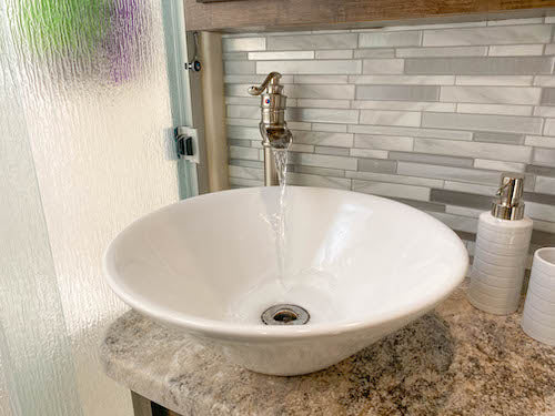 Our waterfall-style faucet was a great upgrade!