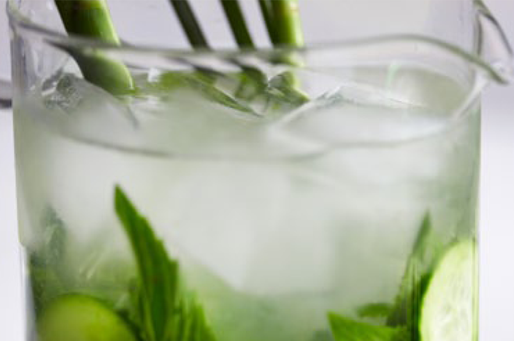 Lime, lemon grass & cucumber - infused water
