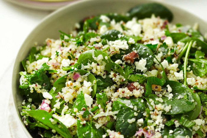 Quinoa pilaff with baby spinach, fennel, feta and almonds