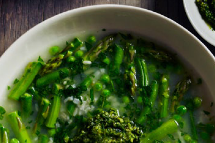 Spring vegetable broth with kale pesto