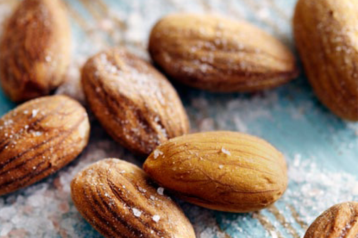 Water-activated almonds