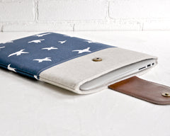 Pretty navy and white laptop case side view birds print