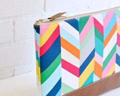 Up close view of stunning colorful herringbone pattern laptop case from Little Pigeon