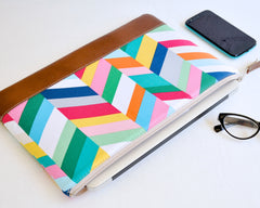 Handcrafted padded geometric print laptop sleeve