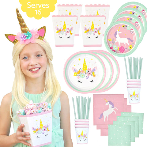 Unicorn Birthday Party Supplies - Serves 16 - Premium Set Includes Bonus Unicorn Horn Headband and Popcorn Treat Boxes Plus Plates Cups Napkins and Straws - 113 Piece Decoration Pack