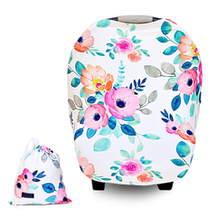 Premium Car seat Canopy and Nursing Cover 4 in 1 Multi Use Soft Stretchy Floral Print