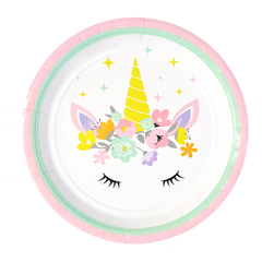 Unicorn Party Plate- 9 inch- Dinner Plate- Set of 16