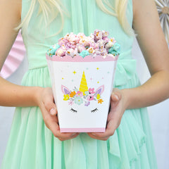 Unicorn Popcorn Treat Boxes- Set of 8