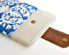 Handcrafted fully padded laptop sleeve in blue damask fabric