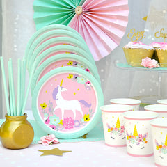 Unicorn Party Plate - Dessert Plate - Set of 16