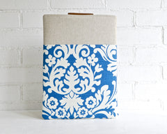 Fancy and swirly blue and ivory laptop case