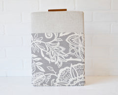 Reverse side of stunning grey and ivory laptop case