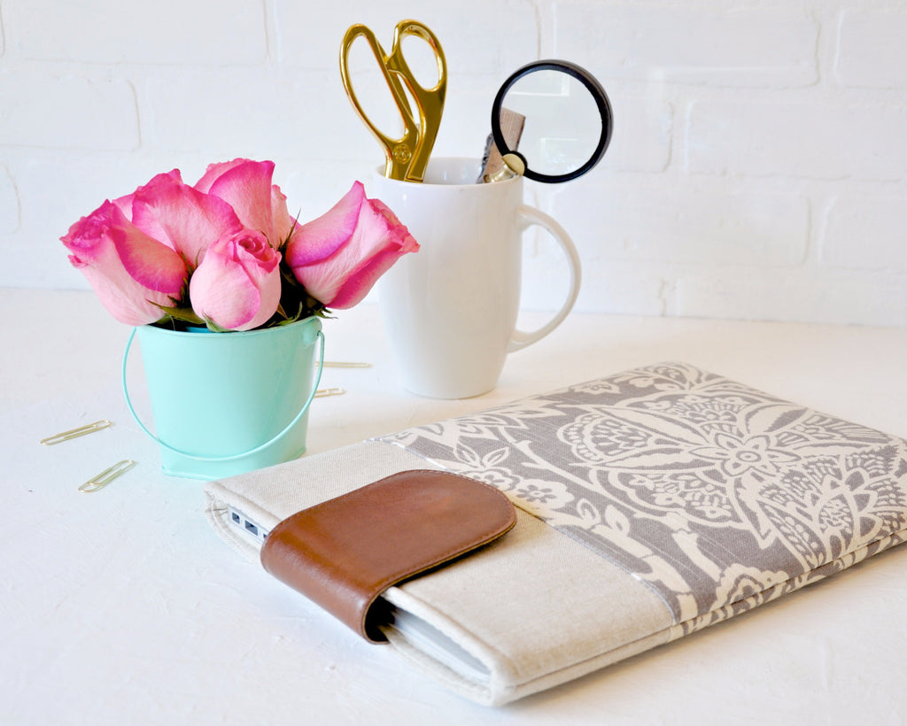 Beautiful floral grey laptop sleeve for the modern woman