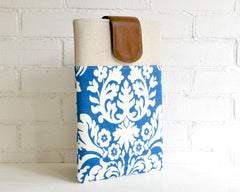 Stately and beautiful bright blue and ivory laptop sleeve