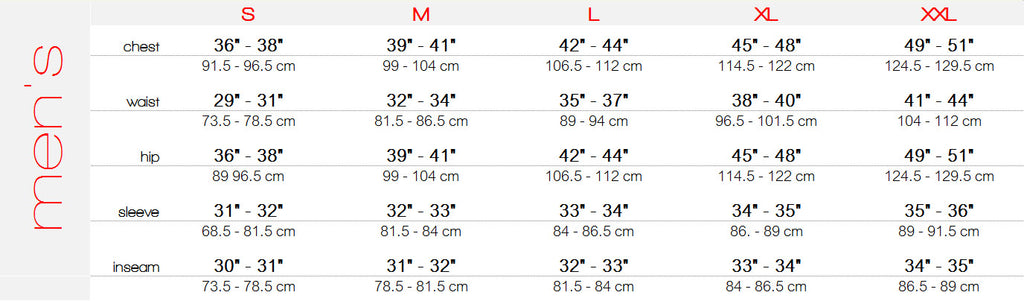 Men' base layer sizing, men's base layer size chart, men's base layer specs, size sheet
