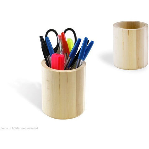 Natural Wood Brush and Pencil Cup