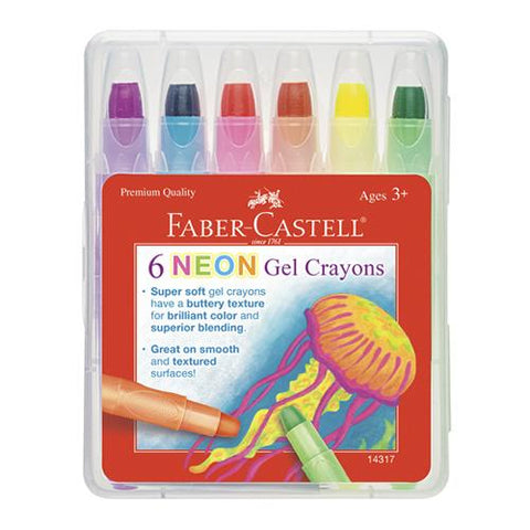 Faber-Castell Neon Gel Crayons Case of 6