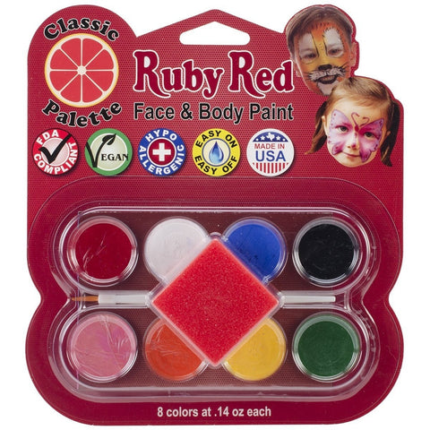 Ruby Red Face Paint Classic Palette Set of 8