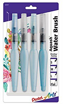 Pentel Assorted Tips Aquash Water Brush 4 Pack Carded