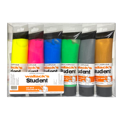 Wallack's Student Acrylic Neon & Metallics Set of 6