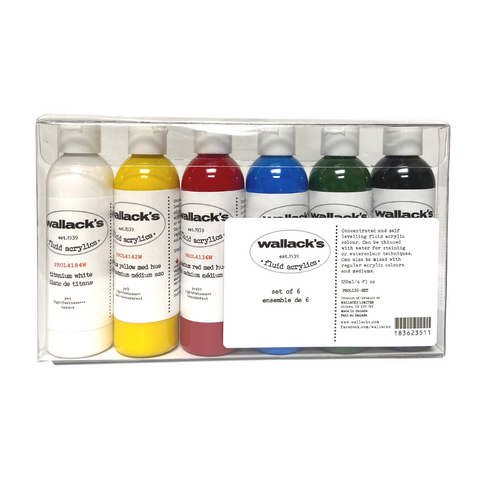Wallack's Fluid Acrylics Primary Set of 6
