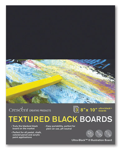 "Crescent 9"" x 12"" Textured Black Art Board 3 Pack"