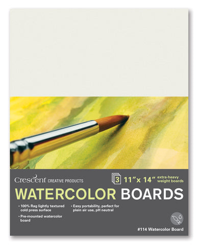 "Crescent White 9"" x 12"" Extra Heavy Weight Cold Press Watercolour Board 3 Pack"