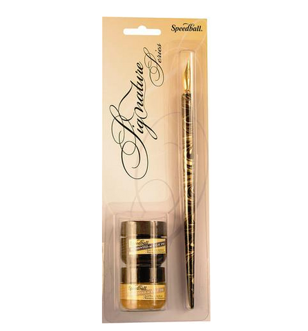 Speedball Signature Series Pen, Nib and Ink Sets - Black & Gold Ink