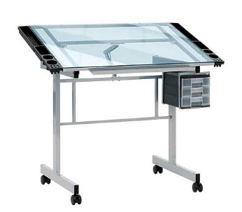 Vision Silver & Blue Glass Top Table
