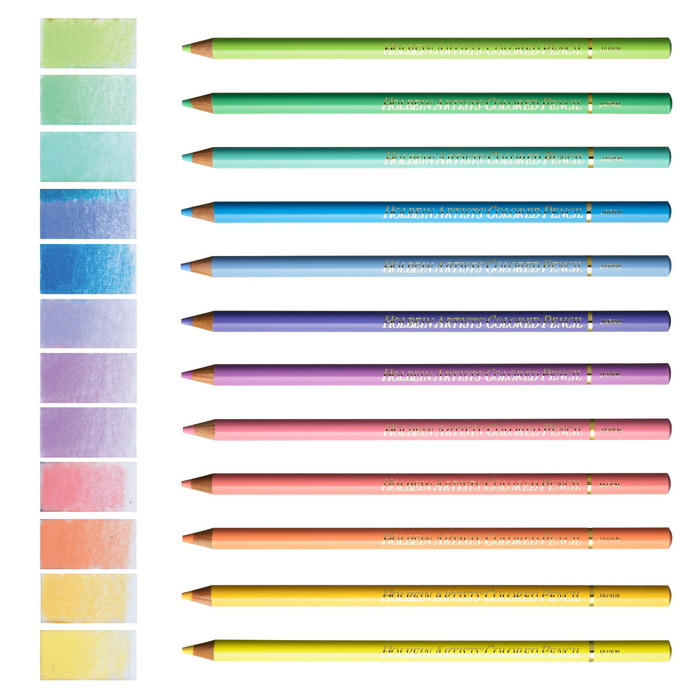 12 coloured pencils and colour swatches