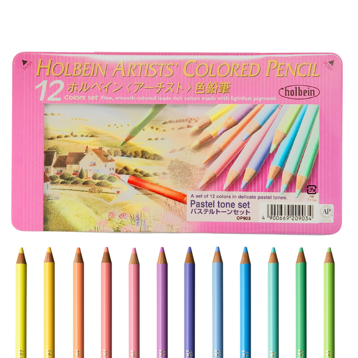 pink coloured pencil tin with coloured pencil samples